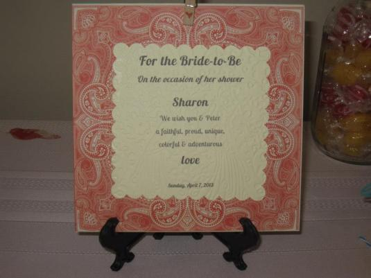Bridal Shower Plaque