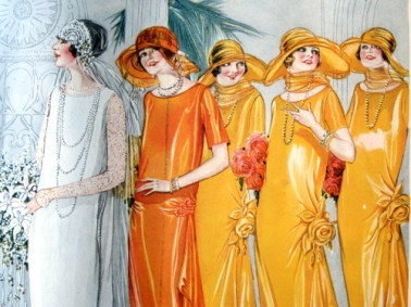 Bride, Maid of Honor, and Bridesmaids. Butterick Pattern illustration from Delineator magazine, October 1924.